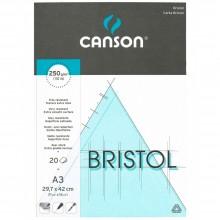Canson :Papier Dessin Bristol : Bloc: A3 : 20 Feuilles : Blanc : Très Lisse