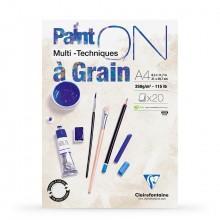 Clairefontaine : PaintOn Grained : Bloc Encollé: 250gsm : 20 Feuilles : A4