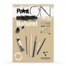 Clairefontaine : PaintOn Natural : Bloc Encollé: 250gsm : 30 Feuilles : A2