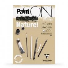 Clairefontaine : PaintOn Natural : Bloc Encollé: 250gsm : 30 Feuilles : A4