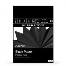Daler Rowney : Canford : Papier Noir : Bloc : 150g : 30 Feuilles : A3