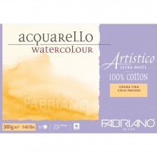 Fabriano : Artistico : Bloc : 140lb : 12x18cm : 25 Feuilles : Très Blanc : Grain Fin