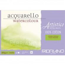 Fabriano : Artistico : Bloc : 140lb : 12x18cm : 25 Feuilles : Très Blanc : Grain Torchon