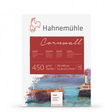 Hahnemuhle :Cornwall : Bloc de Papier : 450gsm : 210lb : 30x40cm : 10 Feuilles : Grain Fin