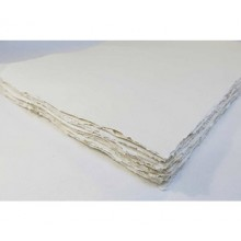Khadi :Papier Tissu Blanc : Paysage: 320gsm: Grain Torchon : 35x70cm