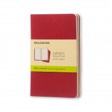 Moleskine : Cahier Journal Uni  : 70g : 9x14cm : 32 Feuilles : Rouge Canneberge : Lot de 4