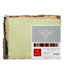 Panart : Handmade Paper : 4 Deckled Edges : Assorted Colours : 200gsm : 25 Sheets : 8.5x11in