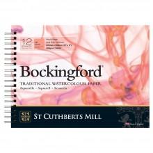 Bockingford :Bloc Papier Spiral : 20x30cm : 300gsm : 12 Feuilles : Grain Satiné