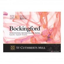 Bockingford : Papier Aquarelle : Glued Pad : 300gsm : 12 Feuilles : A3 : Grain Satiné (La page de couverture est endommagée)