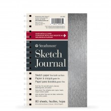 Strathmore : 200 Series : Metallic Sketch Journal : Brushed Silver : 74gsm : 80 Sheets : 5.5x8.5in
