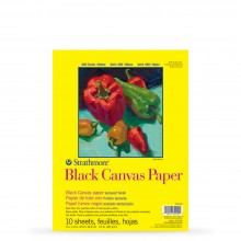 Strathmore : 300 Series : Black Canvas Paper Pad : 10 Sheets : 9x12in