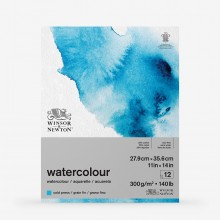 Winsor & Newton : Classic : Watercolour Paper : Gummed Pad : 300gsm : 12 Sheets : Cold Pressed : 10x14in