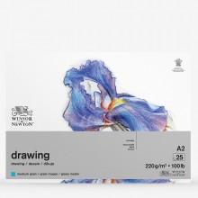 Winsor & Newton : Heavy Weight Drawing : Cartridge Gummed Pad : 220gsm : Medium : 25 Sheets : A2