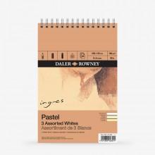 Daler Rowney : Ingres : Papier Pastel: 160g : 24 Feuilles : 6x9in: White