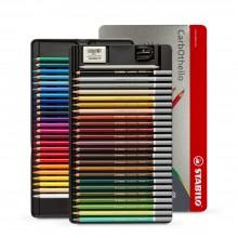 Swan Stabilo : Carbothello : Crayon Pastel : Boite en Métal de 48 :Plus Taille-Crayon et Gomme:Metal Tin Set of 48:
