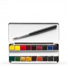 Daler Rowney : Artists' : Peinture Aquarelle: Metal Set : 1/4 Pan : Lot de  19