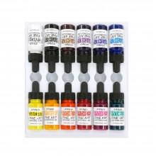 Dr. Ph. Martin's : Hydrus Liquid : Peinture Aquarelle: 15ml x 12 : Lot 1 (1H - 12H):