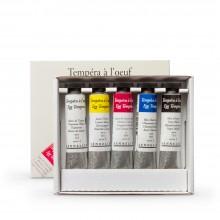 Sennelier :Tempera à l'Oeuf Peinture : Lot pour Débuter : 5x21ml Tubes