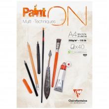 Clairefontaine : PaintOn White : Bloc Encollé: 250gsm : 40 Feuilles : A4