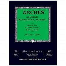 Arches : Aquarelle : Bloc Papier Encollé: 23x31cm : 12 Feuilles : Grain Fin