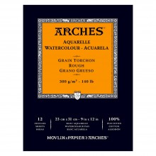 Arches : Aquarelle : Bloc Papier Encollé: 23x31cm : 12 Feuilles : Grain Torchon