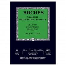 Arches : Aquarelle : Bloc Papier Encollé: 26x36cm : 12 Feuilles : Grain Fin