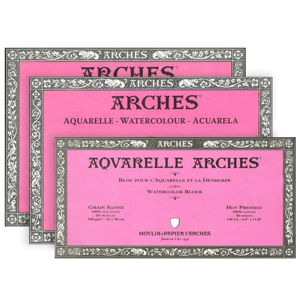 Arches Aquarelle 300gsm 22x30in 56X76cm 10 Sheets Hot Pressed